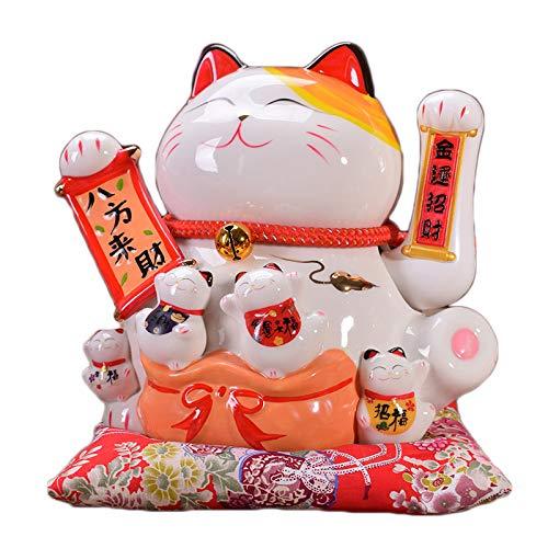 Gvuha Chinese Feng Shui White Lucky Waving Cat Figure with Moving Arm Maneki Neko Waving Fortune Cat L21W18H24cm, 3