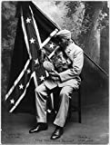 1913 Photo The Conquered Banner Elderly man in uniform looking at canteen in front of Confederate flag