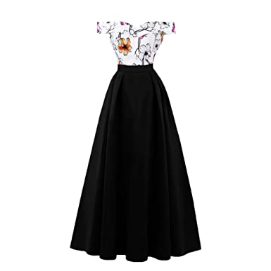 YiLianDaD Womens Vintage Dress Classy Rockabilly Retro Floral Pattern Print Cocktail Evening Swing Party Dress Prom