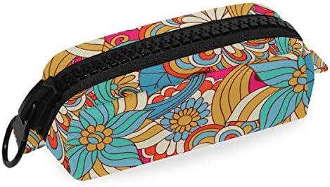 Estuche de lona con cremallera para lápices, colorido, diseño floral, para cosméticos, para manualidades: Amazon.es: Oficina y papelería