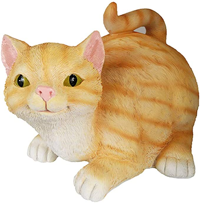 Durable Resin Orange Tabby Butt Hole Kitty Cat Shaped Novelty Tissue Dispenser