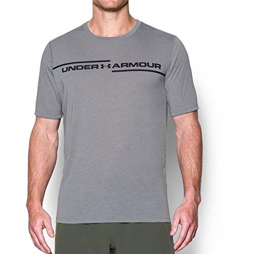 Under Armor Men's Threadborne Cross Chest T-Shirt, True Gray Heather/Black, X-Large