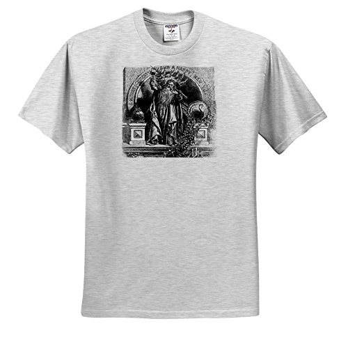 Scenes From The Past ephemera - Father Time Toasts To a Merry Christmas and a Happy New Year Vintage - T-Shirts - Adult Birch-Gray-T-Shirt 3XL - Vintage Images New Happy Year