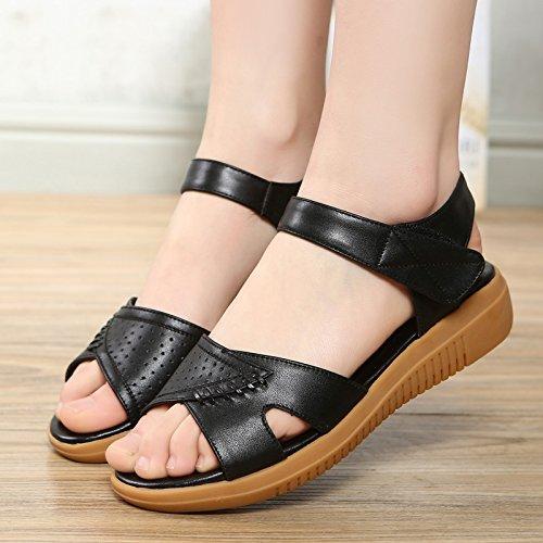 Xing Lin Sandalias De Mujer Zapatos De Verano Con Un Nuevo Sandalias De Tacón Bajo Velcro Casual Mujer Fondo Blando Grande Madre Zapatos black