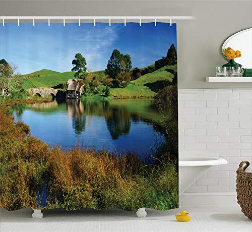 Ambesonne Hobbits Shower Curtain, Hobbit Land Village House by Lake with Stone Bridge Farmhouse Cottage New Zealand, Cloth Fabric Bathroom Decor Set with Hooks, 75