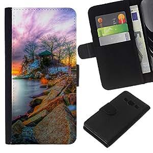 KLONGSHOP // Tirón de la caja Cartera de cuero con ranuras para tarjetas - Naturaleza Fantasy Sunset - Samsung Galaxy A3 //