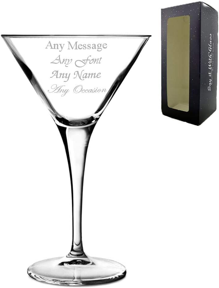 PERSONALISED ENGRAVED WINE GLASS ANY MESSAGE  INC GIFT BOX BIRTHDAY WEDDING