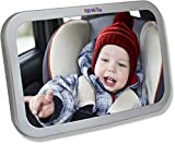 EPAuto Baby Car Back Seat Mirror for Baby and Mom Rear Facing View - Wide Convex Shatterproof Glass and Fully Assembled Crash Tested