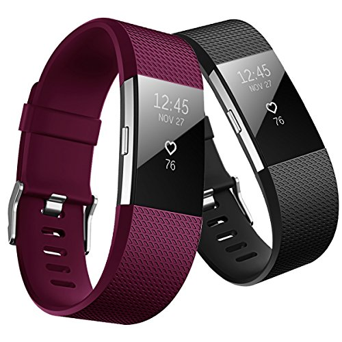 Hanlesi Band for Fitbit Charge 2 , TPU Soft Silicone Adjustable Replacement Sport Strap Band for Fitbit Charge2 Smartwatch Heart Rate Fitness Wristband (Black+Fuchsia, 5.1Inch-6.9Inch)
