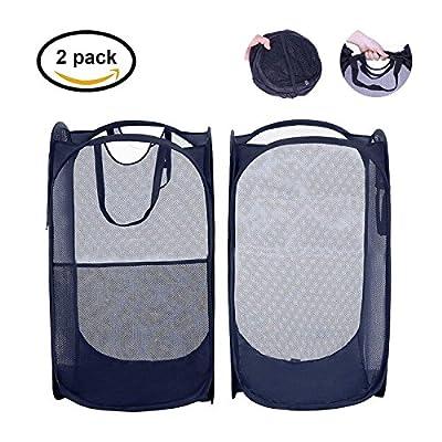 Mesh Pop-Up set of 2 Laundry Hamper with Side Pocket and Handles -Clothes Hamper