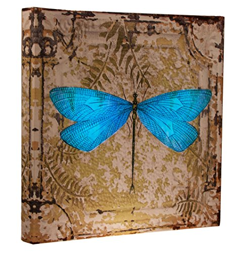 Clever Creations Light Up Dragon Fly Canvas Wall Art Antique Styled Dragonfly Wall Art with LEDs | 11.75