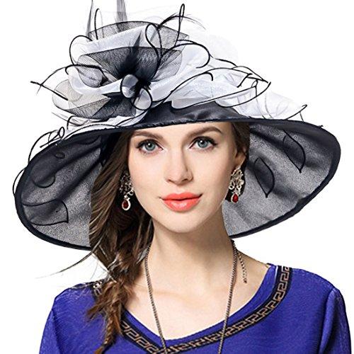 VECRY Women Church Derby Hat Wide Brim Wedding Dress Hat Tea Party HAT S019