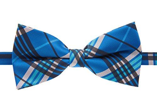 (Retreez Stylish Tartan Plaid Check Woven Microfiber Pre-tied Bow Tie (5