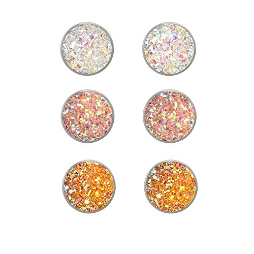 Jiami Sparkling Druzy Stud Earrings Set Glitter Earrings Resin Post Silver Stainless Steel Hypoallergenic Pierced Earrings for Girls Women 3 ()