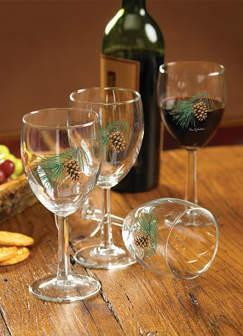 (Pinecone White Wine Glasses by Persis Clayton)