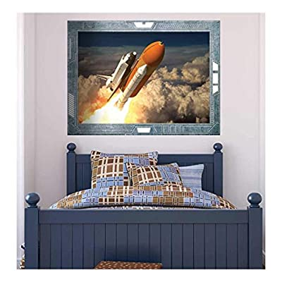 Wall26 - Science Fiction ViewPort - Decal - The Space Shuttle Launching on a Mission - Wall Mural, Removable Sticker, Home Decor - 36x48 inches