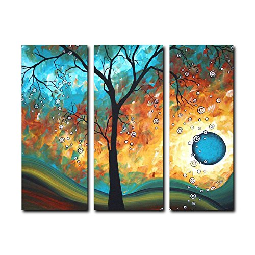 FLY SPRAY Framed 3-Piece 100% Hand Painted Oil Paintings Fall Forest Tree Surrounding By Rain Drops Aside Blue Sea Abstract Canvas Wall Art Decor Of Home Decoration Natural - I Vouchers Use Can Next Online