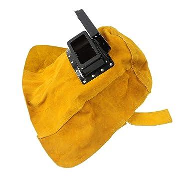 TYXHZL Piel De Soldadura Máscara De Soldadura Máscara De Soldadura Soldador Sombrero Resistente Al Calor De Cuero Gris Transpirable Anti Salpicaduras: ...