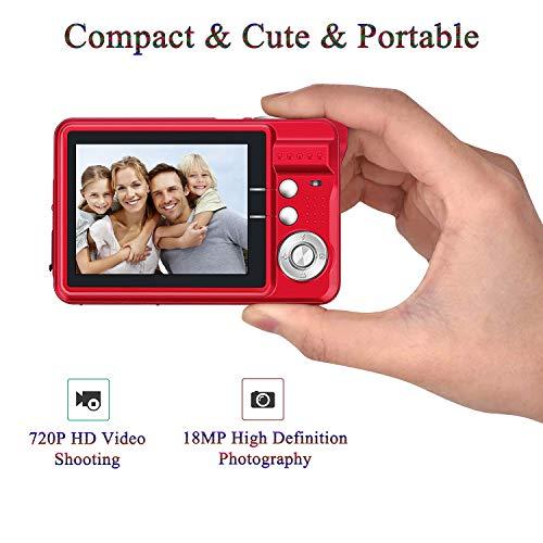 "ATian 2.7"" LCD HD Digital Camera Amazing Rechargeable Camera 8X Zoom Digital Camera Kids Student Camera Compact Mini Digital Camera Pocket Cameras for Kid/Seniors/Student (Red)"