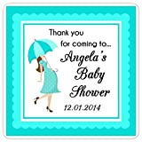 60 Baby Shower Stickers, Baby Bump Shower Labels, Teal Umbrella Square Baby Shower Labels, 2 inch square