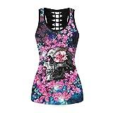 Fancy Uyee Womens Punk Skull Print Workout Yoga Running Tank Tops Sleeveless Casual Shirts Tops(Pink Flower Skull 032, S/M)