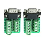 Sysly DB9 Male D-SUB Adapter Plate Connector RS232 Serial to Terminal Board Signal Module 2 Pcs