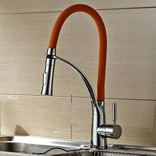 Hiendure Rainbow Series Solid Brass Chrome Pull Out Rubber Hose Kitchen Sink FaucetOrange