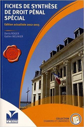 Livre gratuits Fiches de synthèse de droit pénal spécial pdf ebook