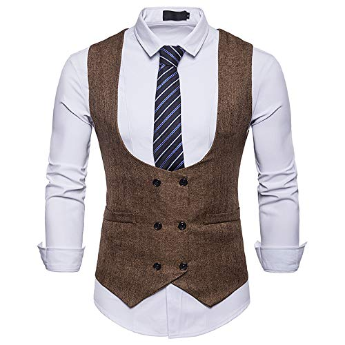MODOQO Men's Double-Breasted Formal Business Waistcoat Slim Suit Vest Jacket Coat(Khaki,XL)