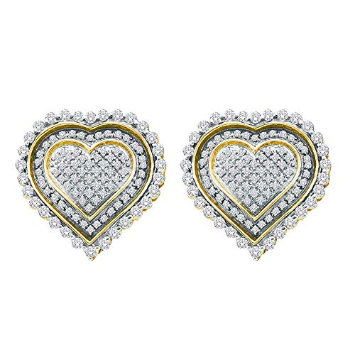 - Jewel Tie 10k Yellow Gold Diamond Heart Halo Micro Pave Set Studs Earrings (1.0 cttw.)
