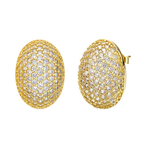 EVER FAITH Women's 925 Sterling Silver Cubic Zirconia Fashion Oval Shape Stud Earrings Clear Gold-Tone ()