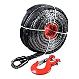 "95"" x 3/8"" 20000LBs Synthetic Winch Rope Line Cable for SUV ATV UTV Jeep Truck (Black Winch with Red Hook)"