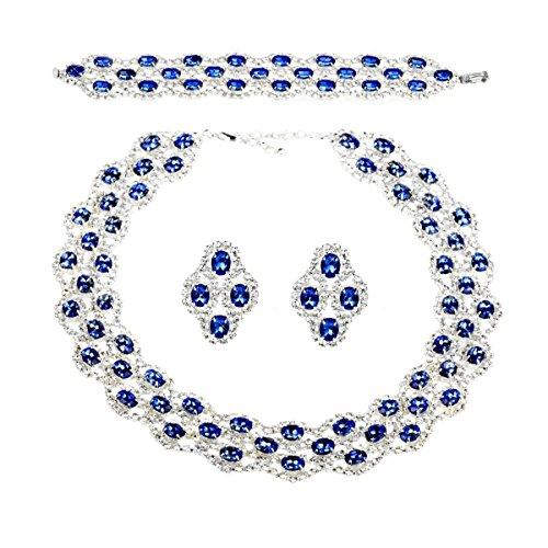 Parure bleue collier boucles d'Oreilles bracelet strass Glamour plaqué argent rhodié