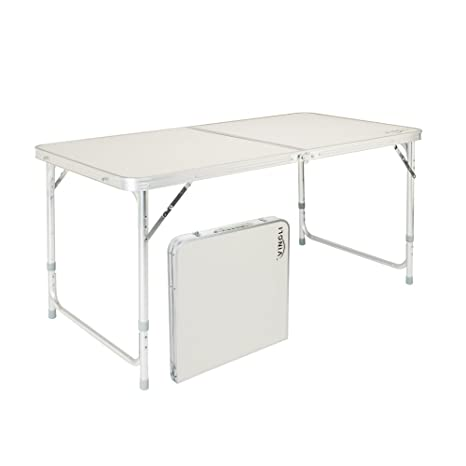 Folding Table With Handle.Vingli 4 Foot Folding Table With Adjustable Height Carry Handle Outdoor Picnic Camping Dining Table Aluminum Utility Suitcase Desk
