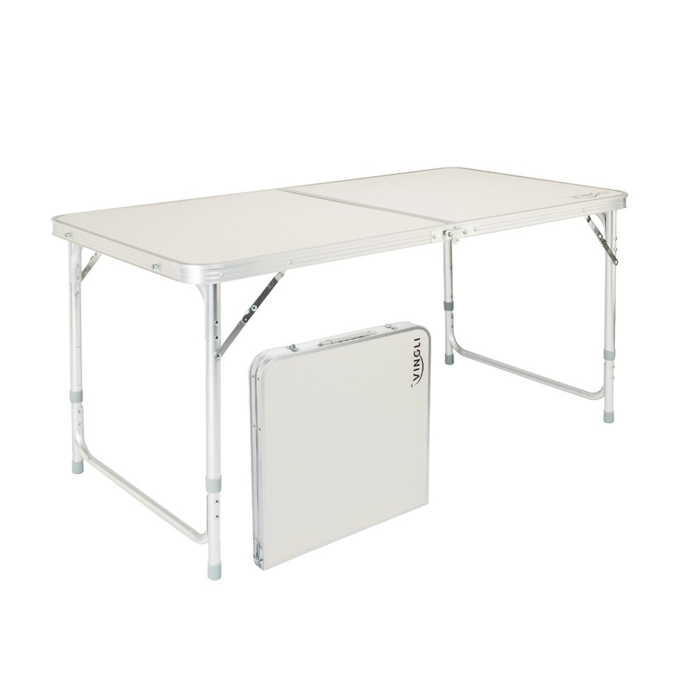 VINGLI 4 Foot Folding Table with Adjustable Height & Carry Handle,Outdoor Picnic Camping Dining Table, Aluminum Heavy Duty Utility Suitcase Desk