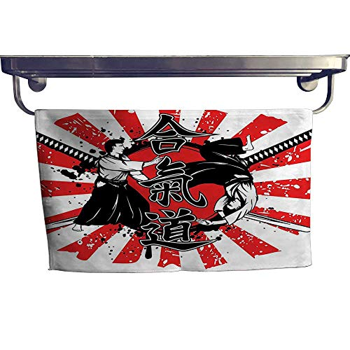 - Leigh home Quick-Dry Towels, Samurai Swords Hieroglyph Background Two Aikido Eastern Fight Style ,Microfiber Towel W 23.5