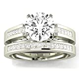 14K White Gold 1.45 CTW Round Cut Channel Set Princess Cut Diamond Engagement Ring, J Color I1 Clarity Center Stone