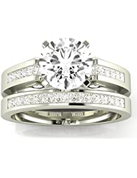 2.7 Cttw 14K White Gold Round Cut Channel Set Princess Cut Bridal Set Diamond Engagement Ring Wedding Band with a 2 Carat I-J Color I2 Clarity Center