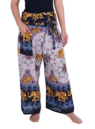 Lannaclothesdesign Women's Thai Fisherman Pants Yoga Trousers Wide Legs Pants (One Size, Black Elephant - Pants Pattern Fisherman Thai