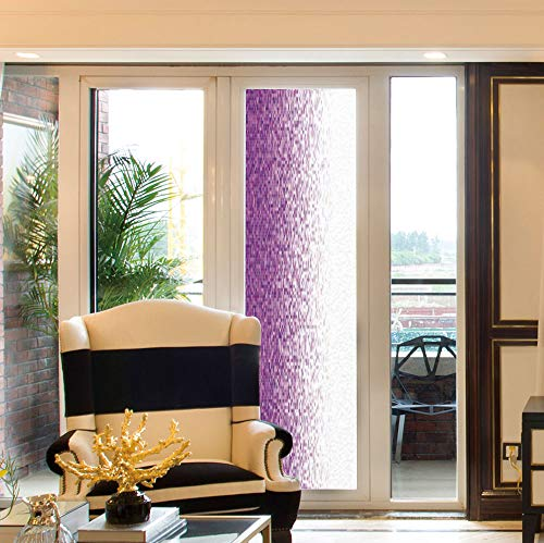 24' Magenta Glitter - YOLIYANA No Glue Window Film,Magenta Decor,for Window Moving Glass Door,Computer Art Style Tile Mosaic Squared Complex Pixel,24''x78''