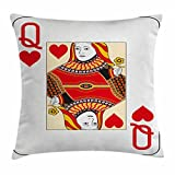 Queen Throw Pillow Cushion Cover by Ambesonne, Queen of Hearts Playing Card Casino Design Gambling Game Poker Blackjack, Decorative Square Accent Pillow Case, 16 X 16 Inches, Vermilion Yellow White