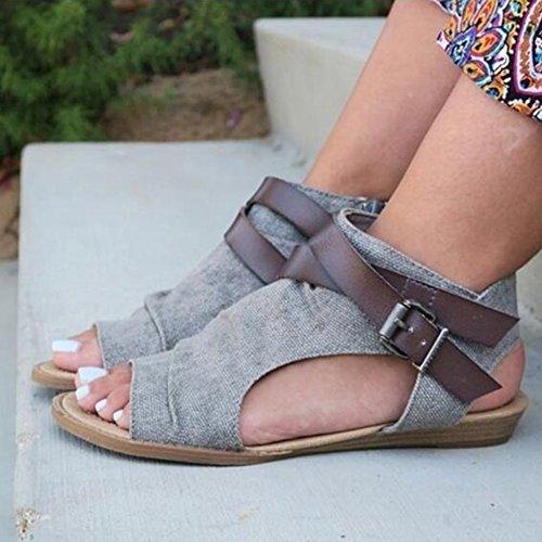 ShiningLove Women Canvas Sandals Large Size Simple Design Fish Mouth Denim Shoes Roma Shoes Gray 40