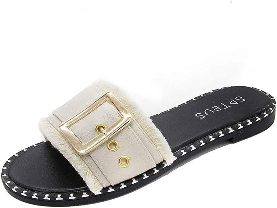 Lurryly Summer Womens Sandals Fashion Belt Buckle Sandals Flat Bottom Roman Ladies Shoe