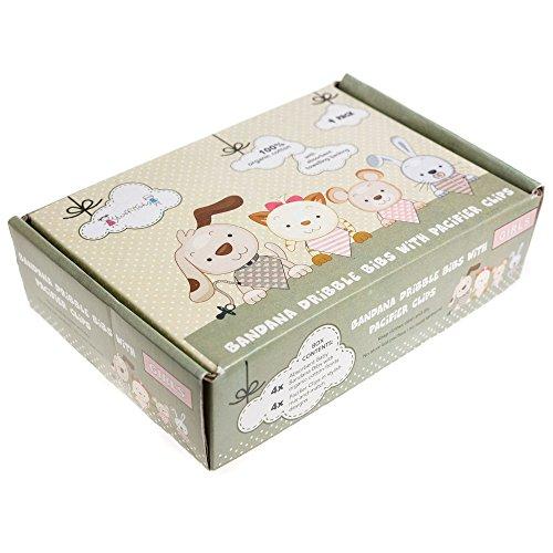 Stuff4Tots Bandana Bibs & Pacifier Clips Gift Box. Organic Cotton (4 Pack Girls)