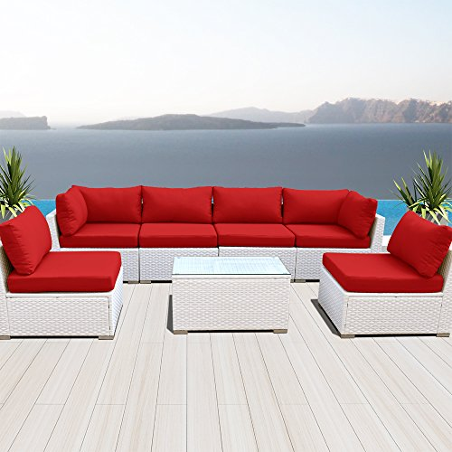 Modenzi NEW 7G-U Outdoor Sectional Patio Furniture White Wicker Sofa Set (Red) (Sofa White Outdoor)