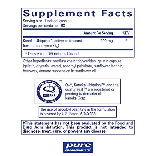 Pure Encapsulations - Ubiquinol-QH 200 mg - Hypoallergenic Supplement - Active Antioxidant Form of CoQ10-60 Softgel Capsules by Pure Encapsulations (Image #1)