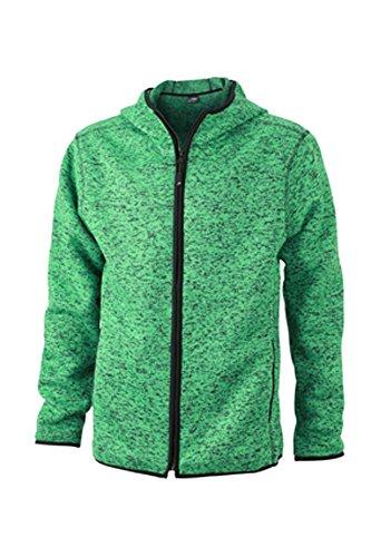 Men's Jn589 Giacca melange Pile Maglia Con 1 black In Green Cappuccio 55xwqrAnTH