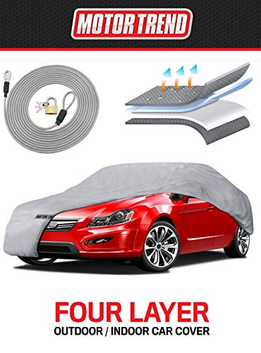 Motor Trend 4-Layer 4-Season (Waterproof Outdoor UV Protection for Heavy Duty Use Full Cover for Cars up to 210