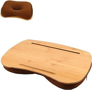 SUMISKY Lap Desk-Portable Laptop Table with Bamboo Platform Phone Holder Pillow Cushion Anti-Slip Stopper on Bed & Sofa (Medium)
