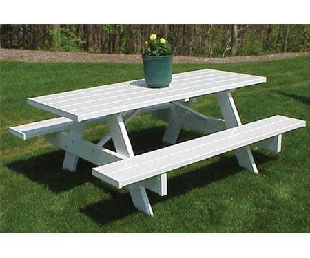 Amazon.com : PVC Picnic Table 6ft : White Wood Picnic Bench : Garden U0026  Outdoor